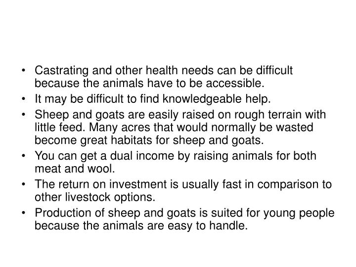 Castrating and other health needs can be difficult because the animals have to be accessible.