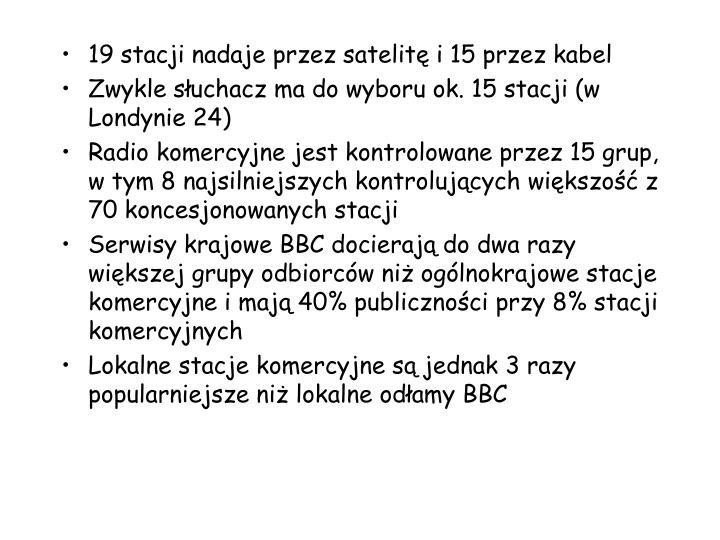 19 stacji nadaje przez satelit i 15 przez kabel