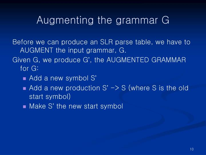 Augmenting the grammar G