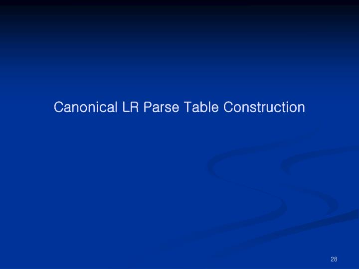Canonical LR Parse Table Construction