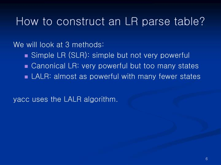 How to construct an LR parse table?