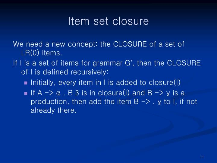 Item set closure