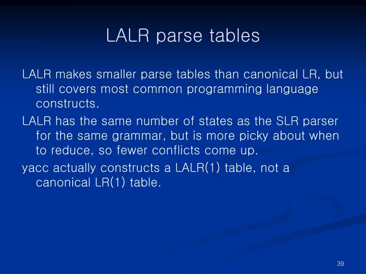 LALR parse tables