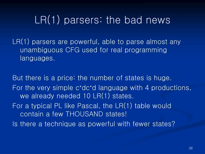 LR(1) parsers: the bad news