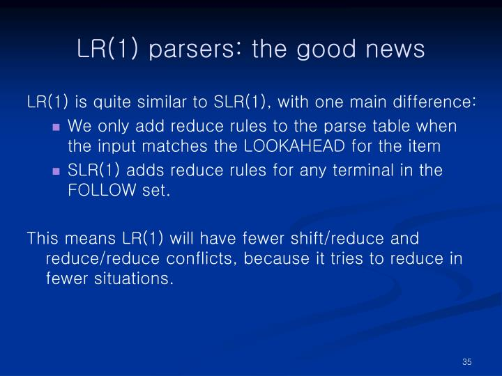 LR(1) parsers: the good news
