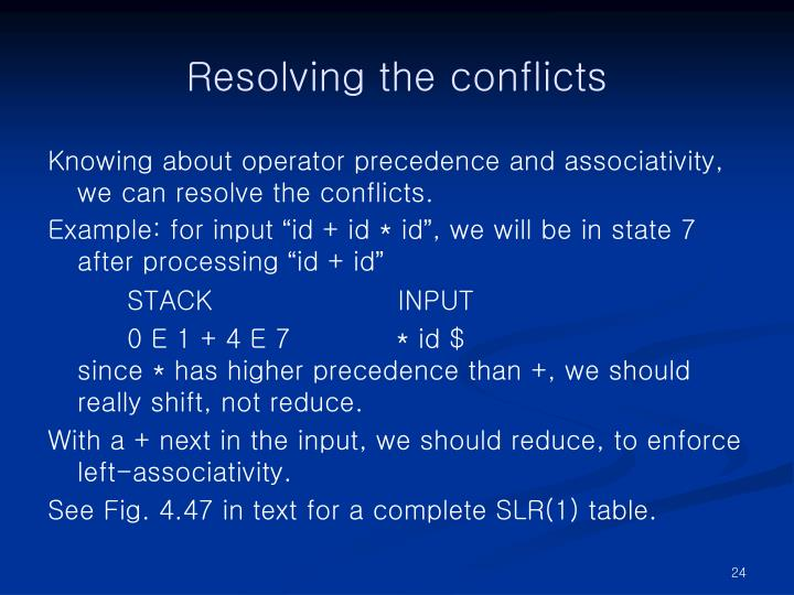 Resolving the conflicts