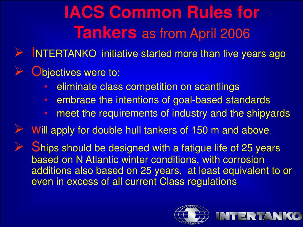 IACS Common Rules for Tankers