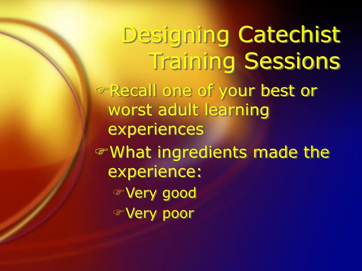 Designing Catechist Training Sessions