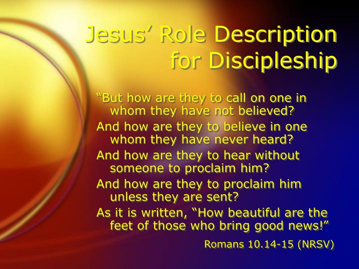 Jesus' Role Description for Discipleship