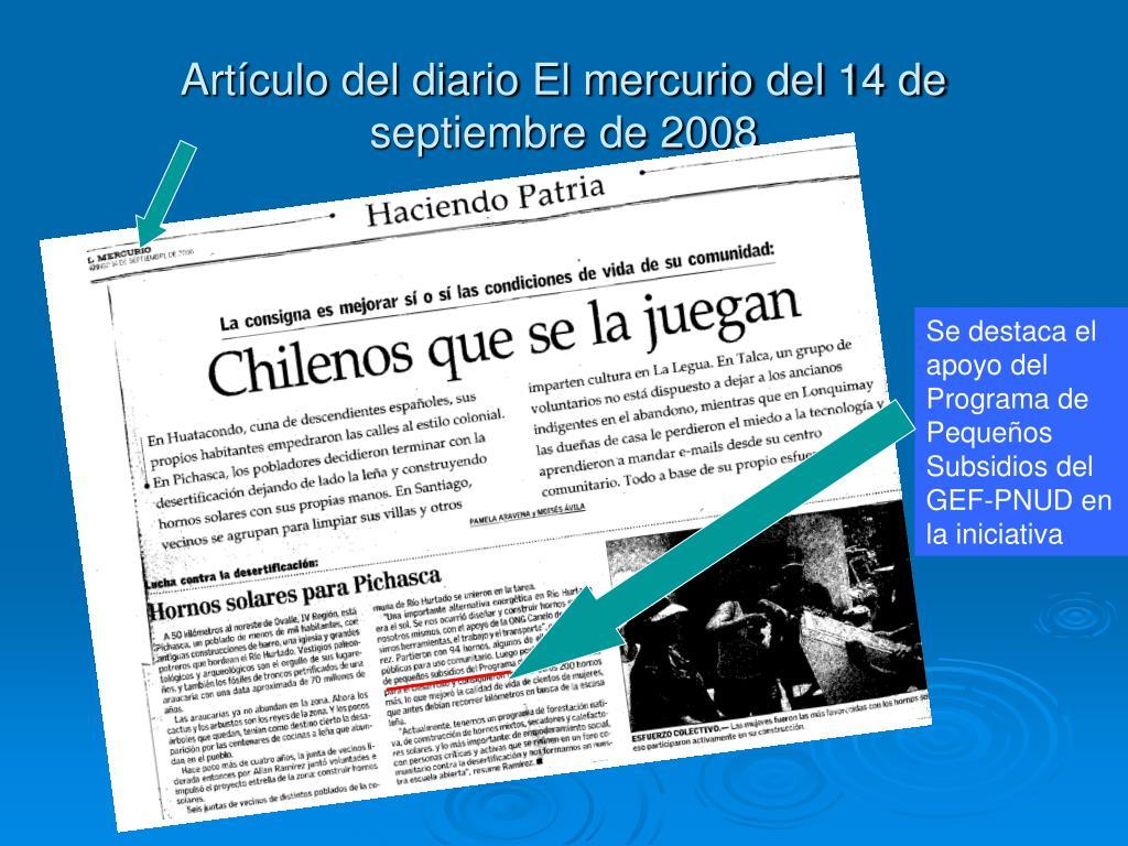 Artículo del diario El mercurio del 14 de septiembre de 2008