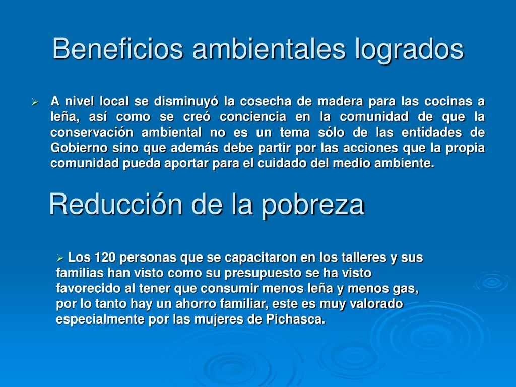 Beneficios ambientales logrados