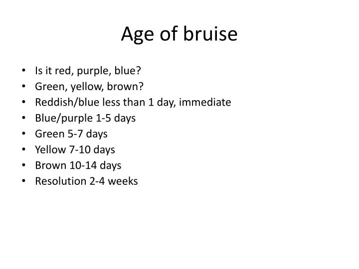 Age of bruise