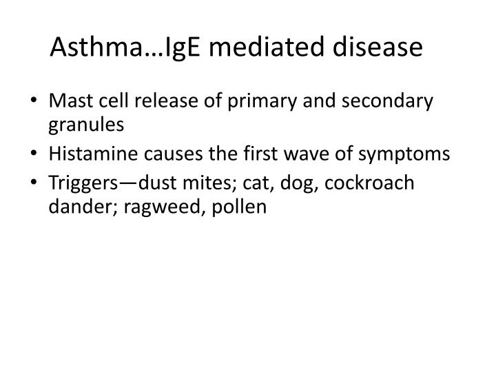 Asthma…IgE mediated disease
