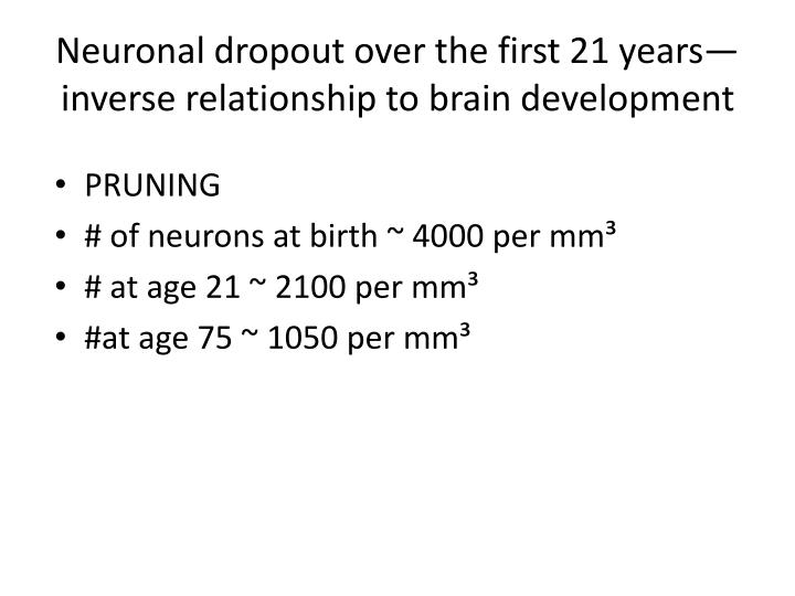 Neuronal dropout over the first 21 years—inverse relationship to brain development