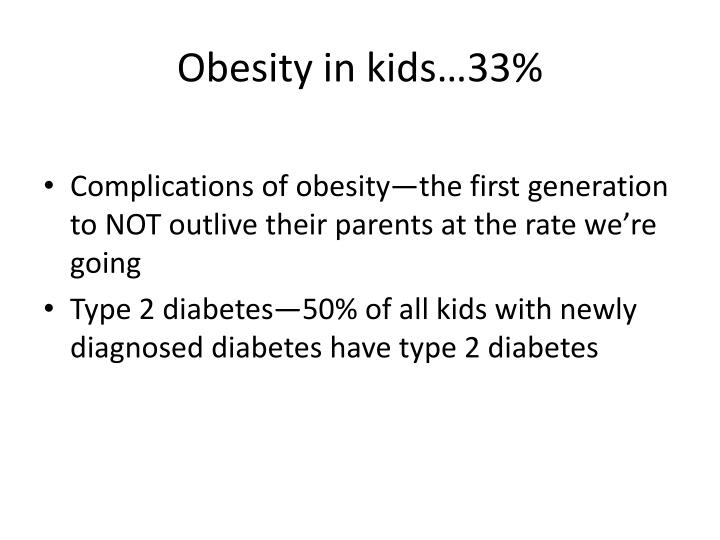 Obesity in kids…33%