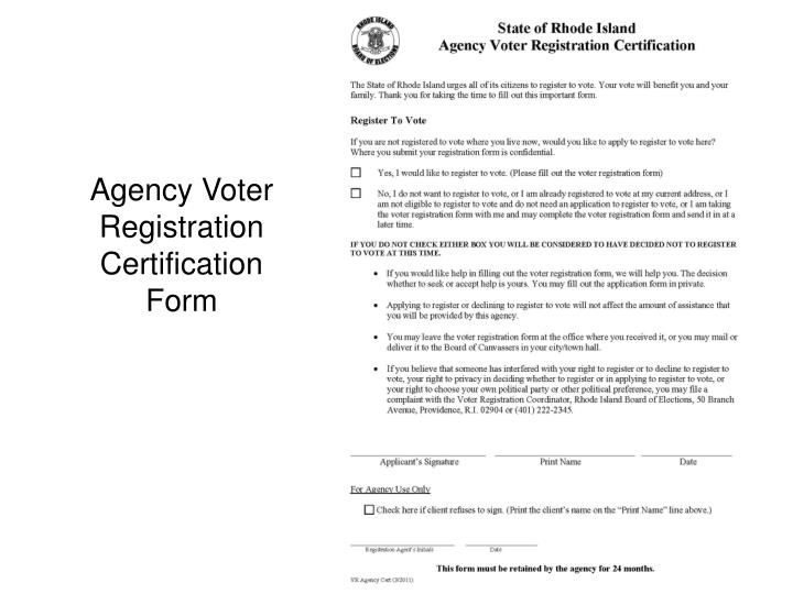 Agency Voter Registration Certification Form