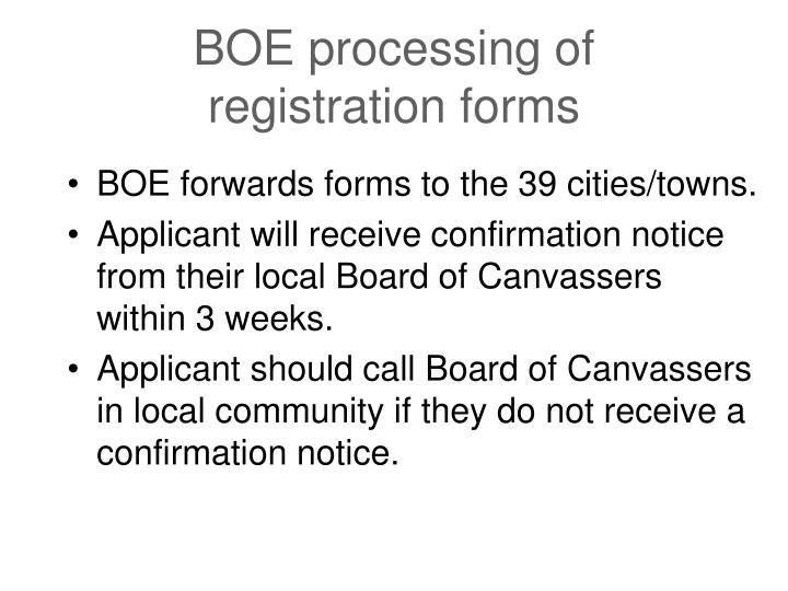 BOE processing of