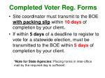 completed voter reg forms