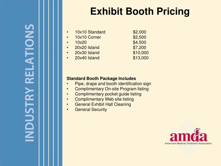 Exhibit Booth Pricing