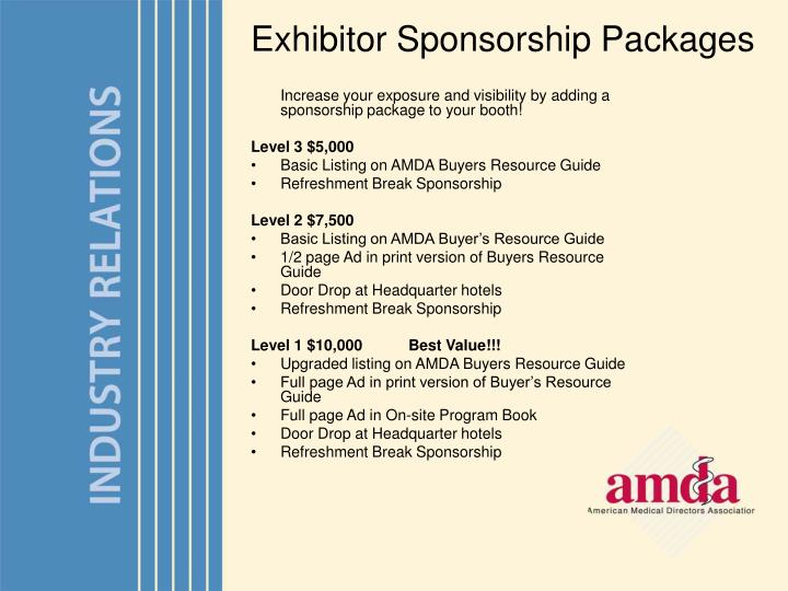 Exhibitor Sponsorship Packages