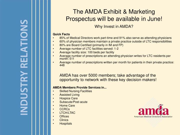 The AMDA Exhibit & Marketing Prospectus will be available in June!