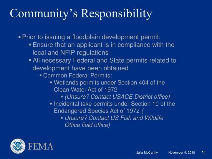 Community's Responsibility