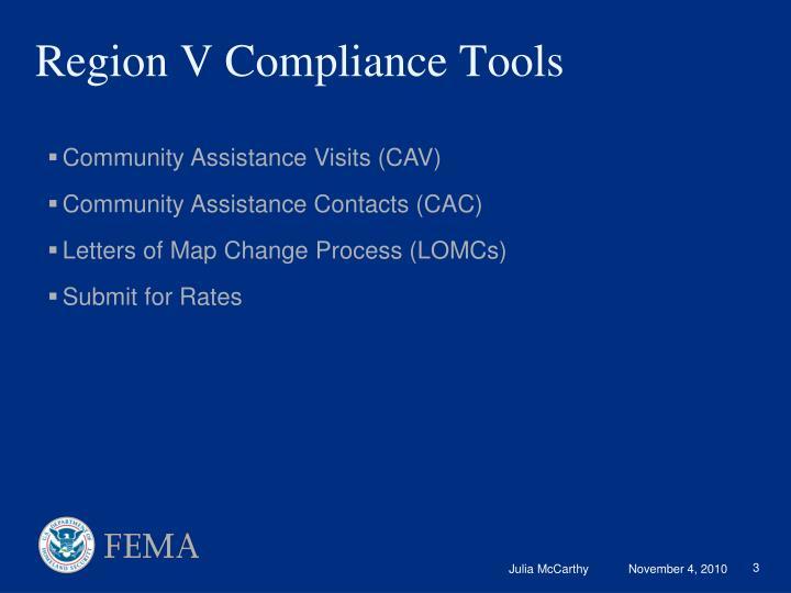 Region V Compliance Tools
