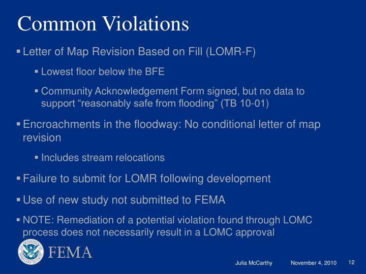 Common Violations