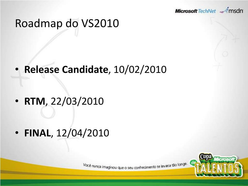 Roadmap do VS2010
