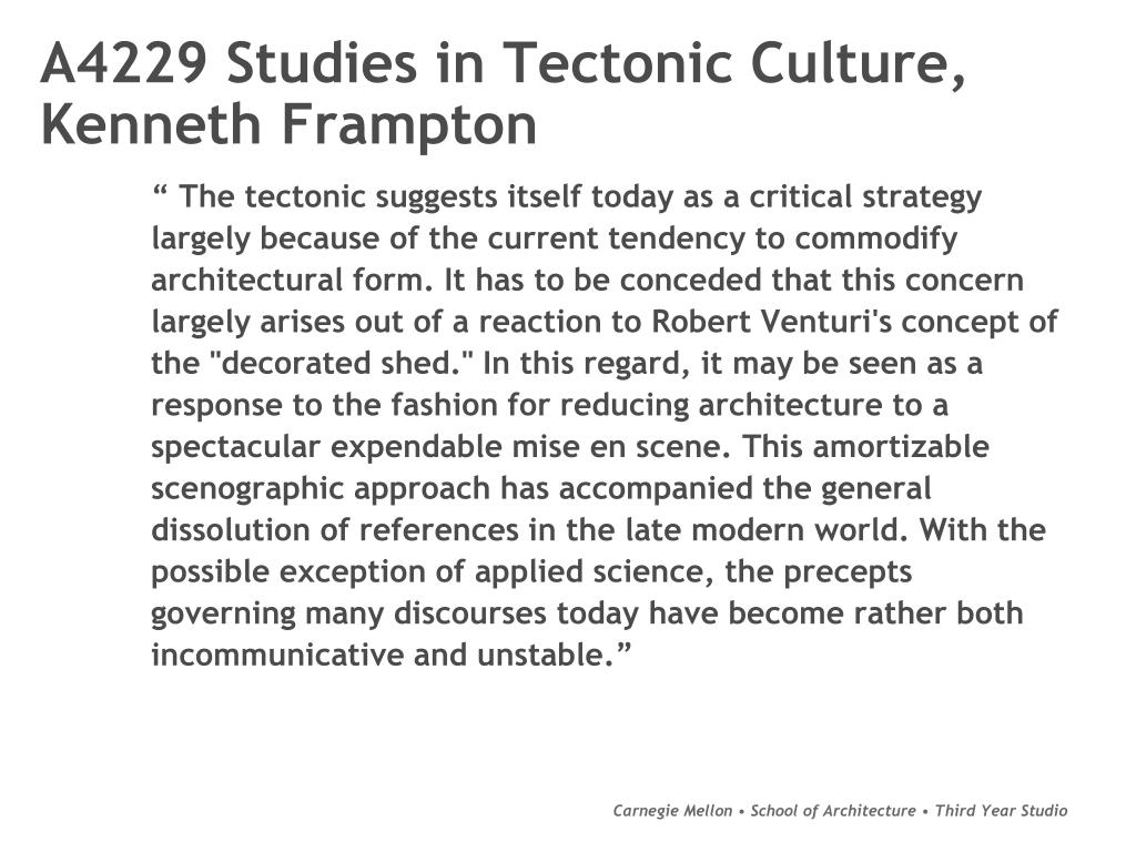 A4229 Studies in Tectonic Culture,