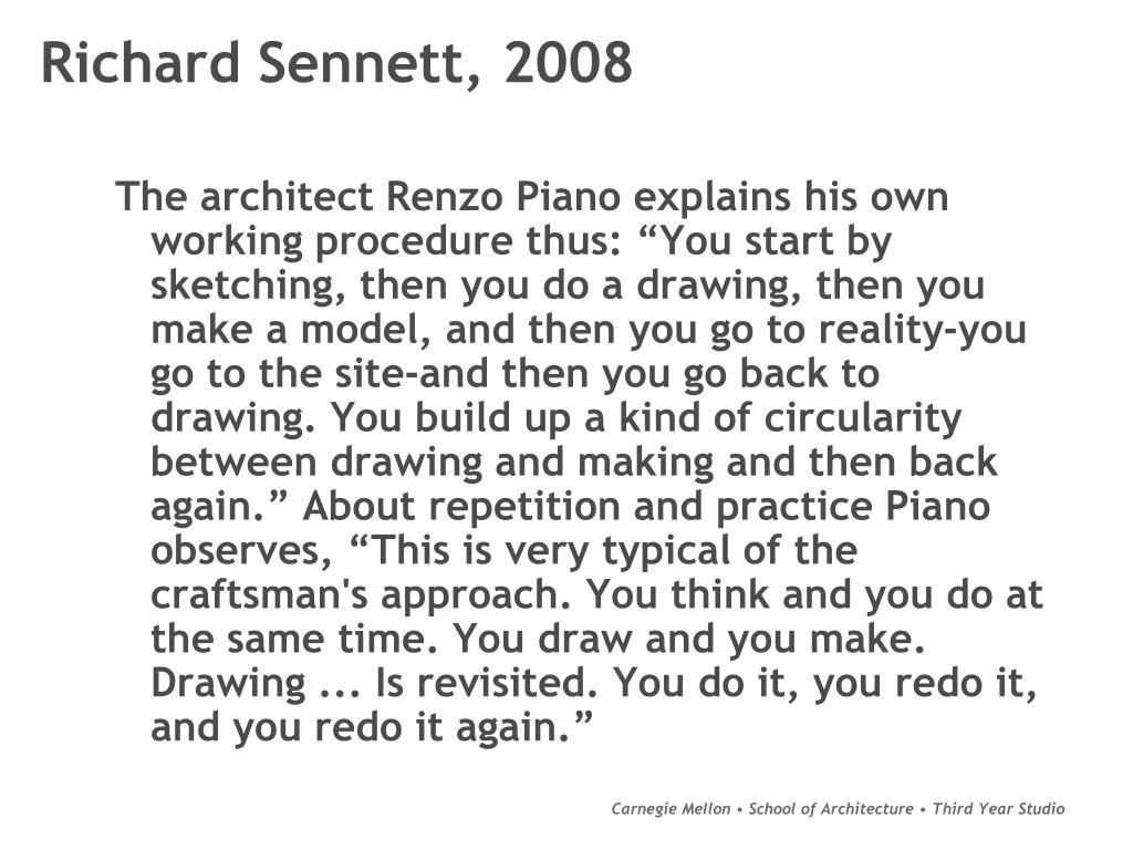 Richard Sennett, 2008