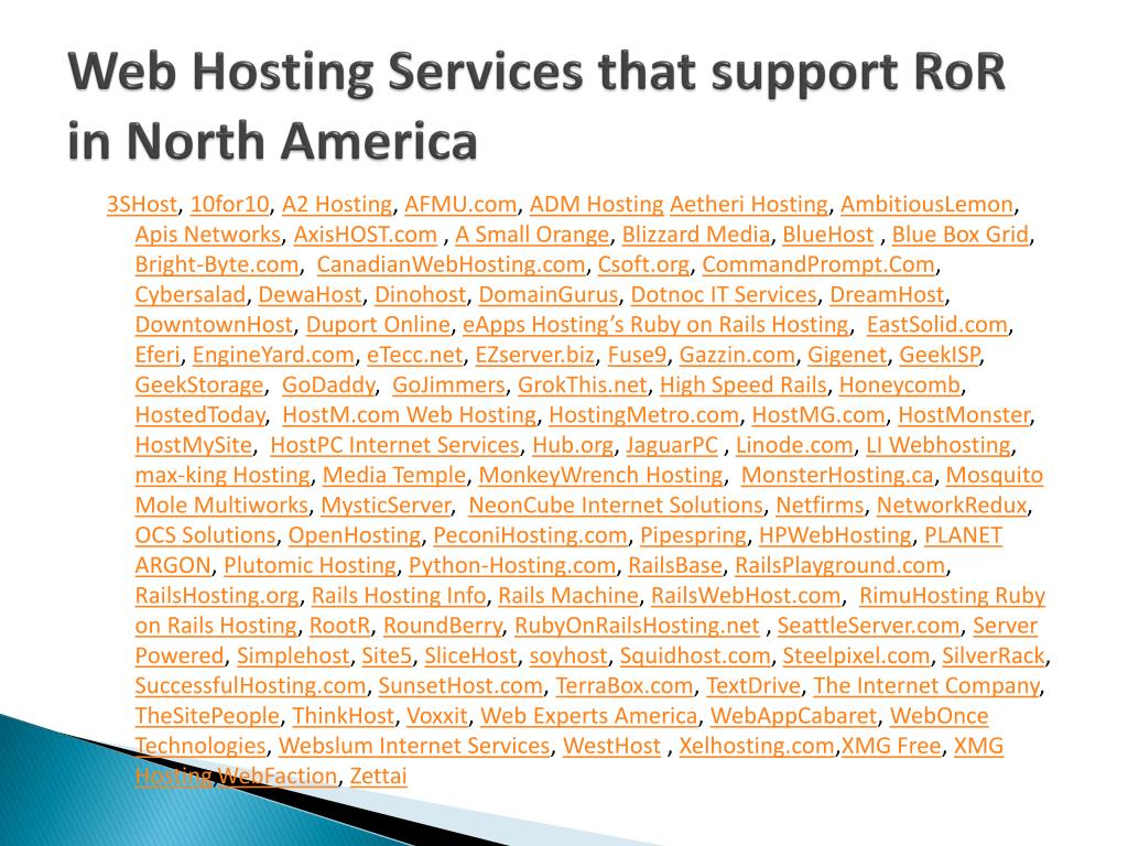 Web Hosting Services that support
