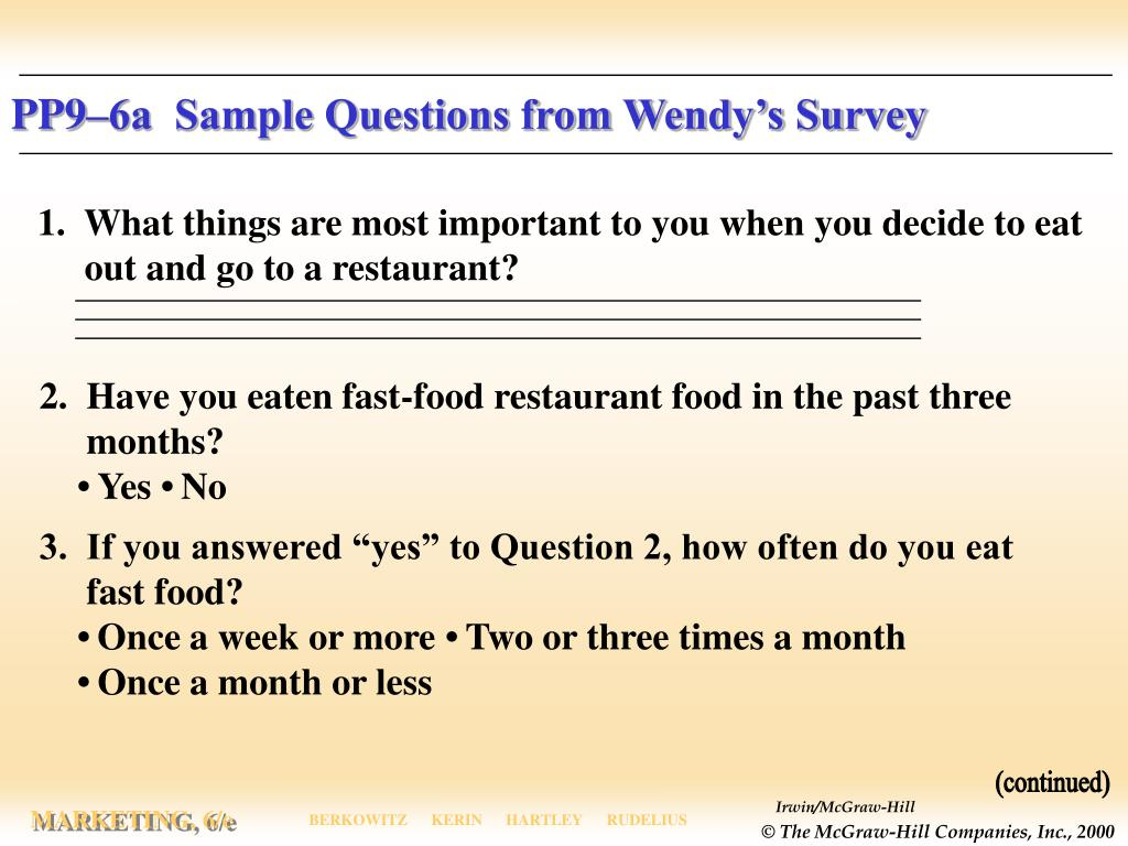 PP9–6a  Sample Questions from Wendy's Survey
