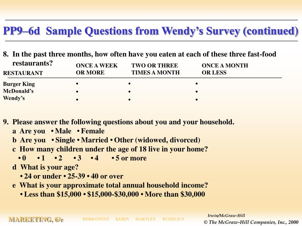 PP9–6d  Sample Questions from Wendy's Survey (continued