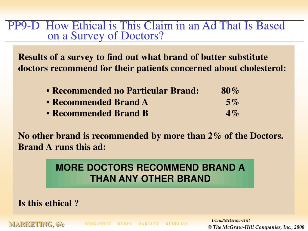 PP9-D  How Ethical is This Claim in an Ad That Is Based          	   on a Survey of Doctors?