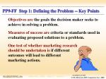 pp9 ff step 1 defining the problem key points