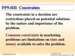 pp9 hh constraints