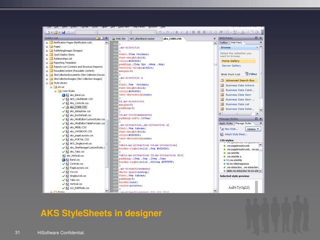 AKS StyleSheets in designer