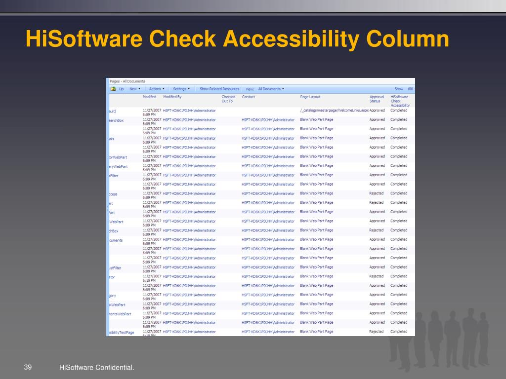 HiSoftware Check Accessibility Column