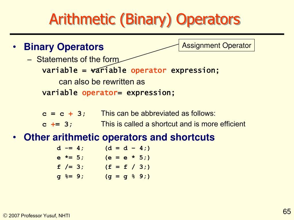 Arithmetic (Binary) Operators