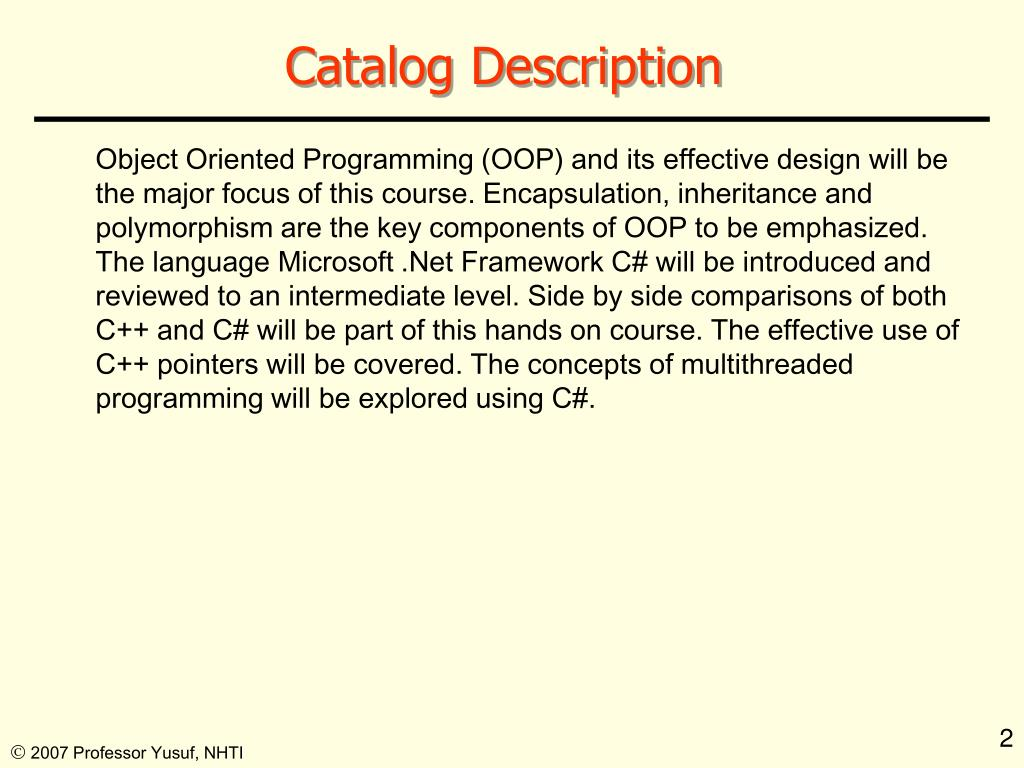 Catalog Description