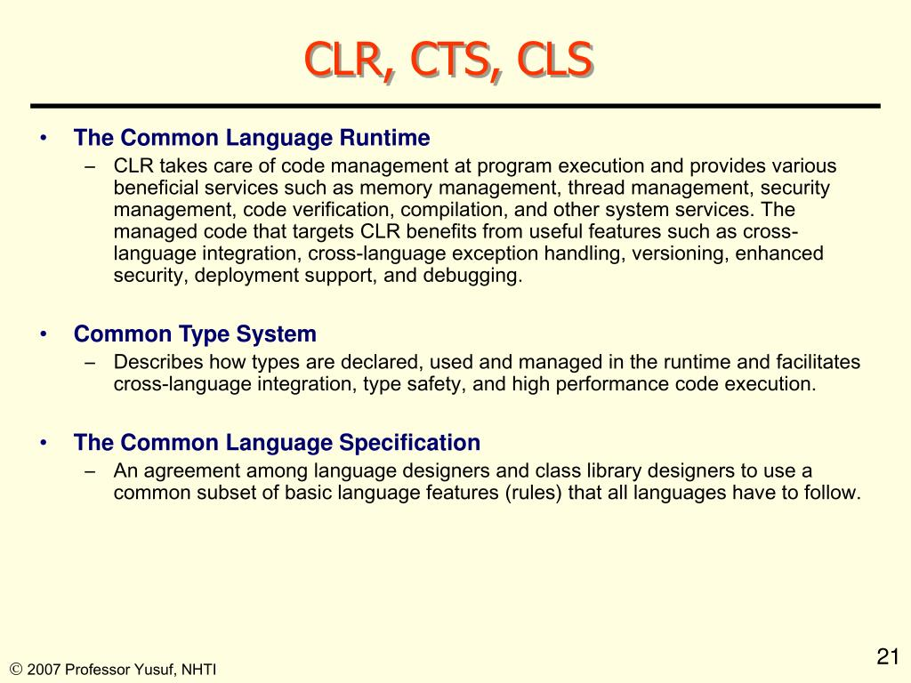 CLR, CTS, CLS