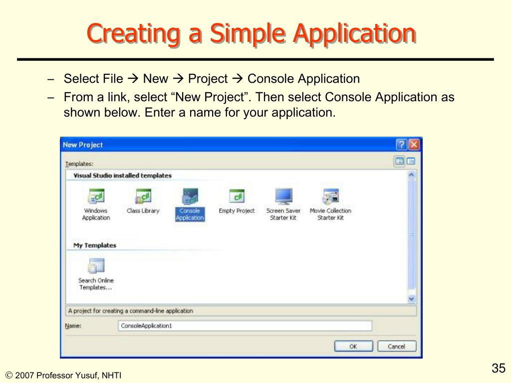 Creating a Simple Application