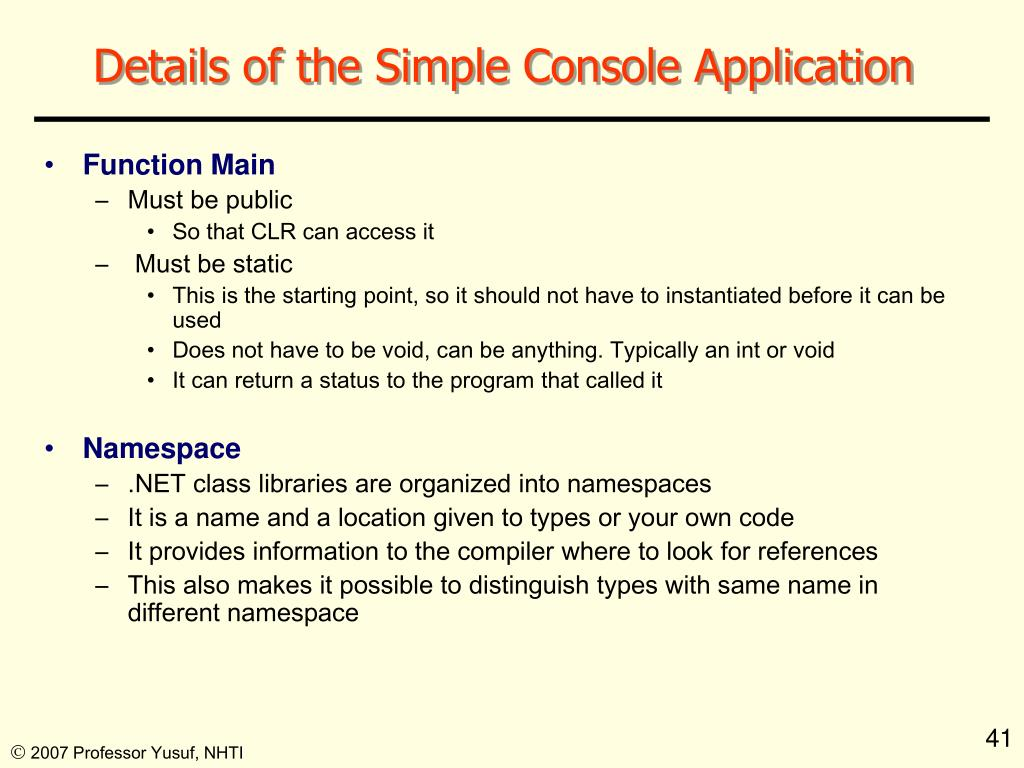 Details of the Simple Console Application