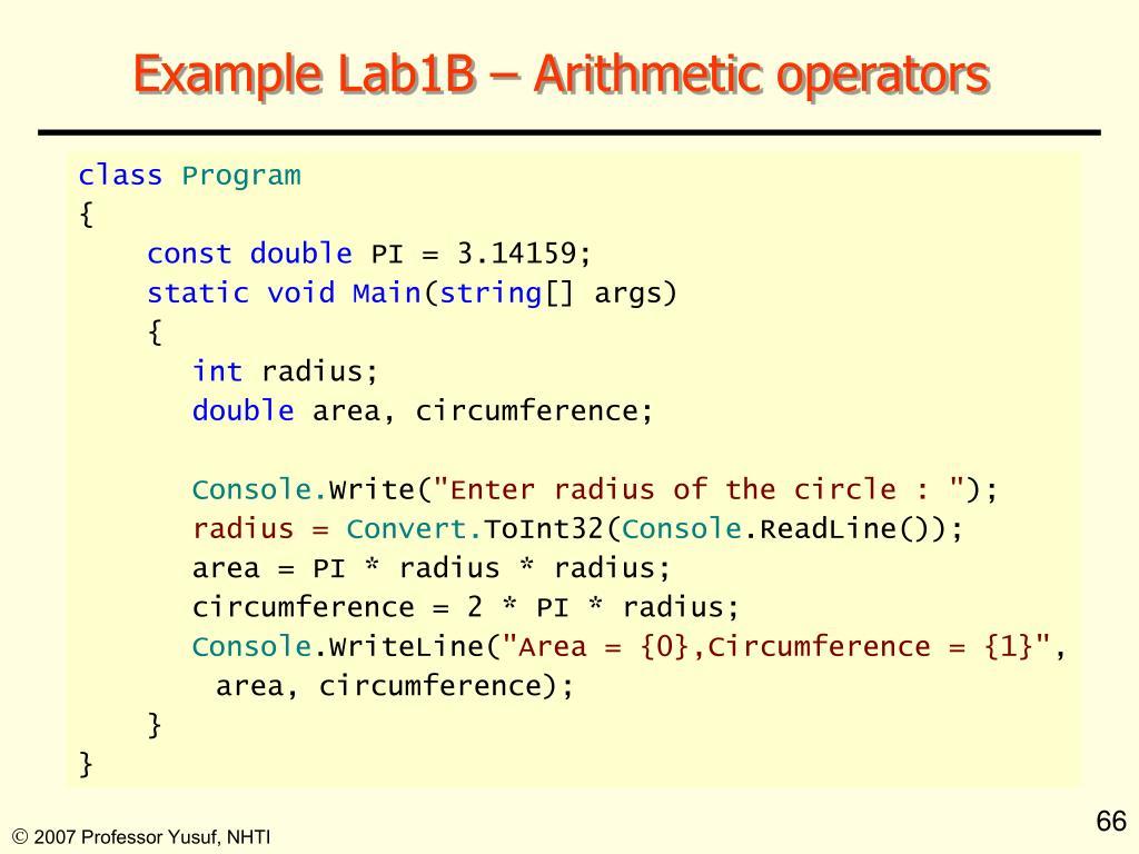 Example Lab1B – Arithmetic operators
