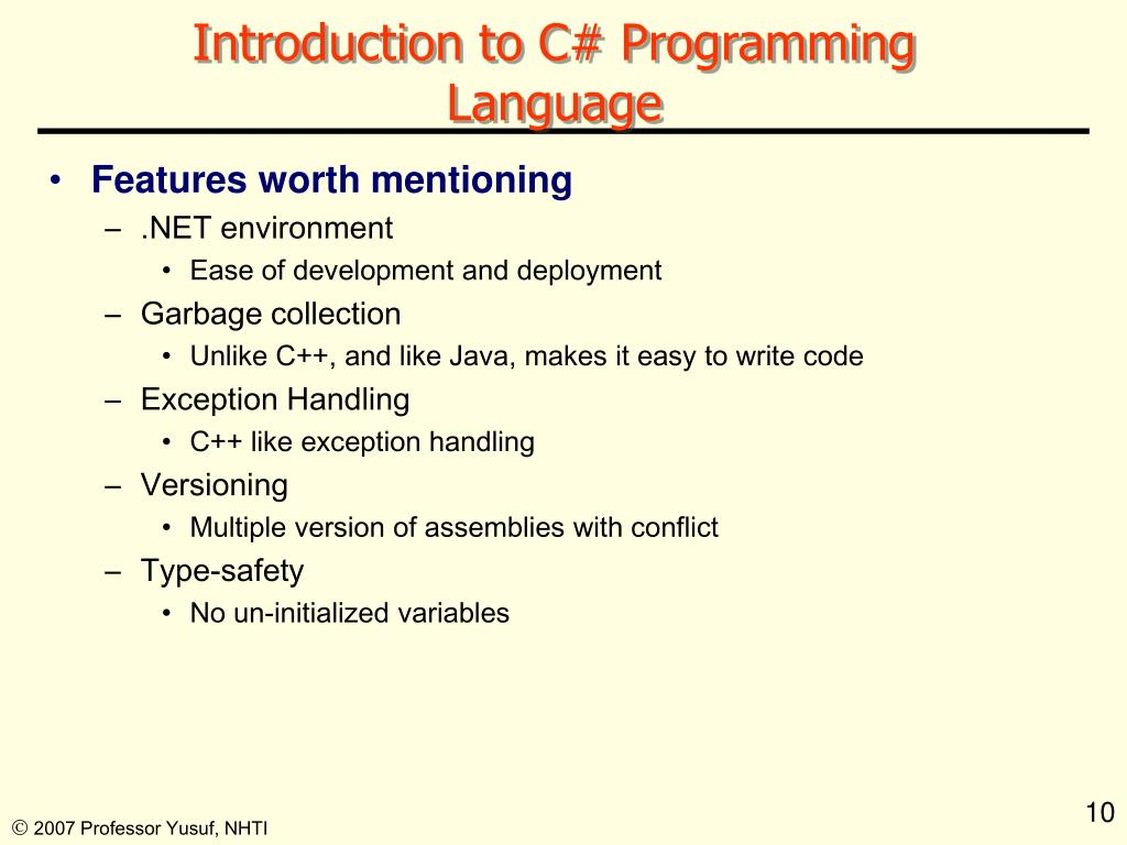 Introduction to C# Programming Language