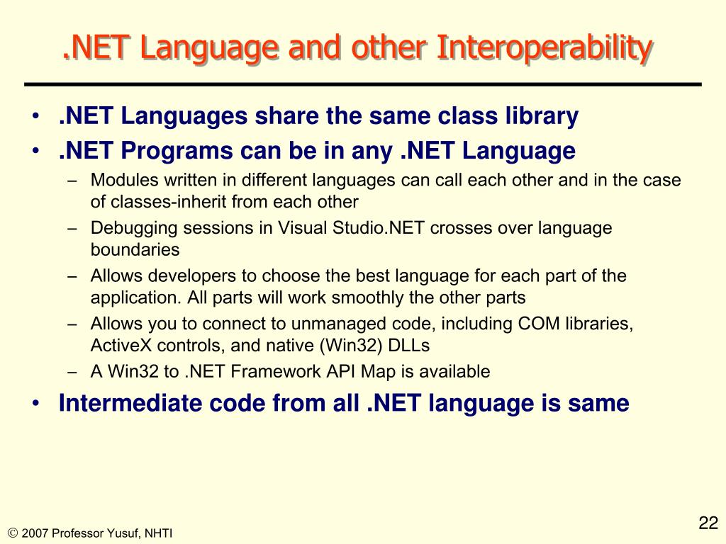 .NET Language and other Interoperability