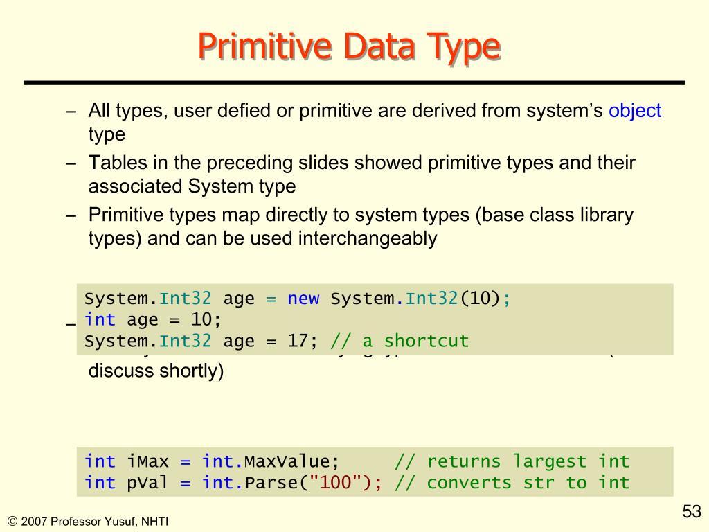Primitive Data Type