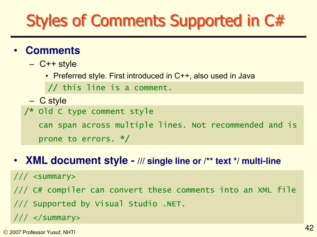 Styles of Comments Supported in C#