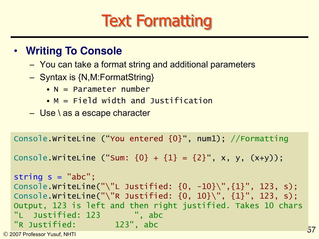 Text Formatting